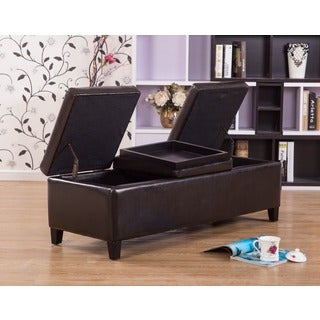 Warehouse of Tiffany Eleesha Brown Bicast Leather 52-inch Storage Ottoman