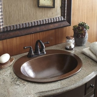 "Sinkology Seville Drop-In Copper Bath Sink with 4"" Faucet Holes