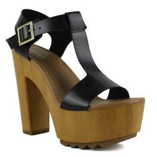Mark and Maddux Women's T-strap Lug Platform High Heel Sandal