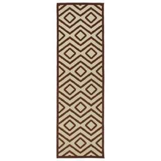 Indoor/ Outdoor Luka Terracotta Diamond Rug (2'6 x 7'10)