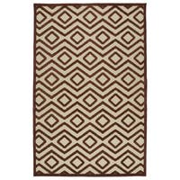 "Indoor/ Outdoor Luka Terracotta Diamond Rug - 3'10"" x 5'7"""