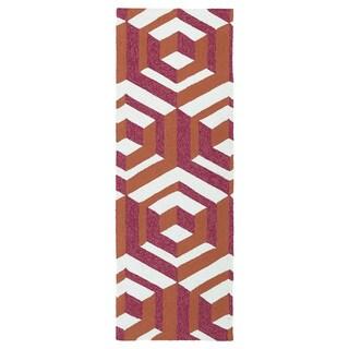 Indoor/ Outdoor Handmade Getaway Multi Geo Rug (2'0 x 6'0) - 2' x 6'