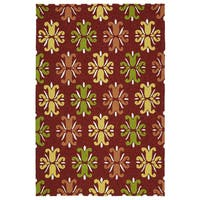 Indoor/ Outdoor Handmade Getaway Red Medallions Rug - 8' x 10'