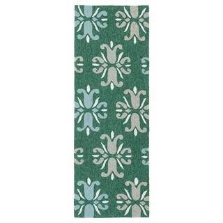 Indoor/ Outdoor Handmade Getaway Emerald Medallions Rug (2'0 x 6'0) - 2' x 6'