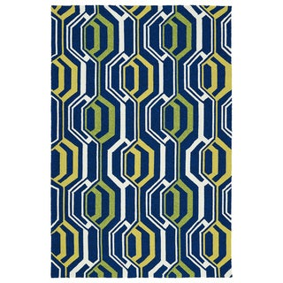 Indoor/ Outdoor Handmade Getaway Navy 3D Rug (4'0 x 6'0) - 4' x 6'