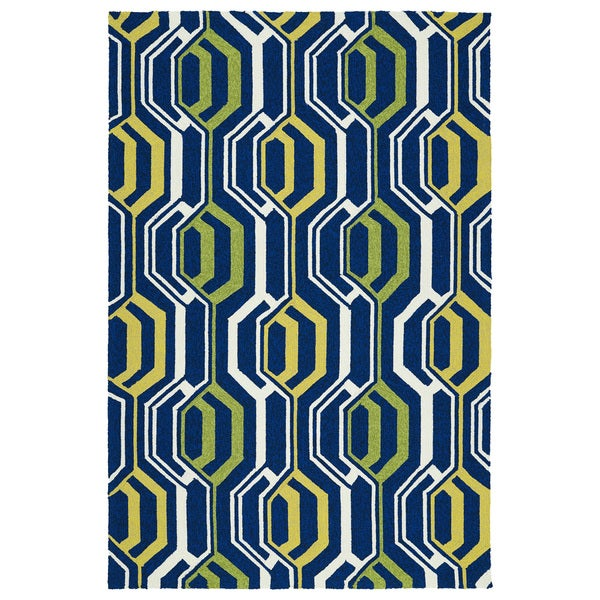 Indoor/ Outdoor Handmade Getaway Navy 3D Rug - 5' x 7'6""