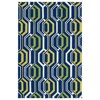 Indoor/ Outdoor Handmade Getaway Navy 3D Rug (5'0 x 7'6)