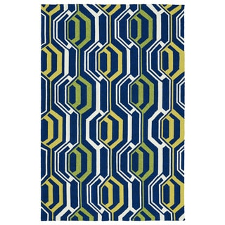 Indoor/ Outdoor Handmade Getaway Navy 3D Rug (8'0 x 10'0)