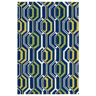 Indoor/ Outdoor Handmade Getaway Navy 3D Rug (9'0 x 12'0)