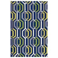 Indoor/ Outdoor Handmade Getaway Navy 3D Rug - 9' x 12'