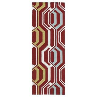 Indoor/ Outdoor Handmade Getaway Red 3D Rug (2'0 x 6'0) - 2' x 6'