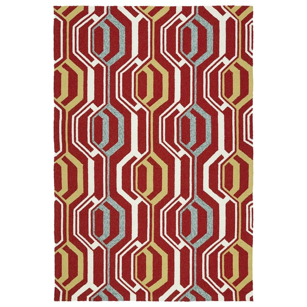 Indoor/ Outdoor Handmade Getaway Red 3D Rug - 9' x 12'