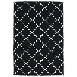 Indoor/ Outdoor Handmade Getaway Black Tiles Rug (9'0 x 12'0) - 9' x 12'