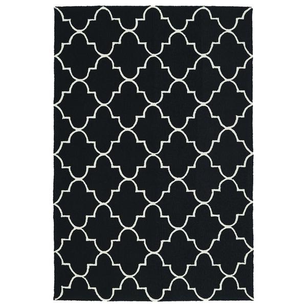 Indoor/ Outdoor Handmade Getaway Black Tiles Rug - 9' x 12'