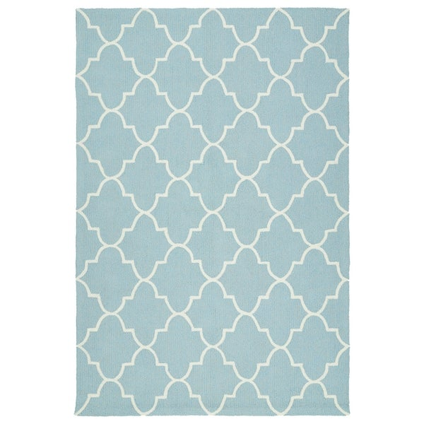 Indoor/ Outdoor Handmade Getaway Light Blue Tiles Rug - 8' x 10'
