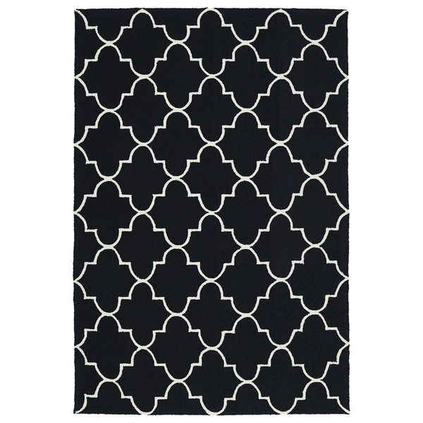 Indoor/ Outdoor Handmade Getaway Black Tiles Rug - 4' x 6'