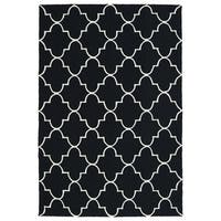Indoor/ Outdoor Handmade Getaway Black Tiles Rug - 5' x 7'6