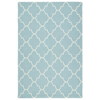 Indoor/ Outdoor Handmade Getaway Light Blue Tiles Rug (2' x 3')