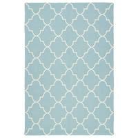 Indoor/ Outdoor Handmade Getaway Light Blue Tiles Rug - 2' x 3'