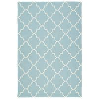 Indoor/ Outdoor Handmade Getaway Light Blue Tiles Rug - 9' x 12'