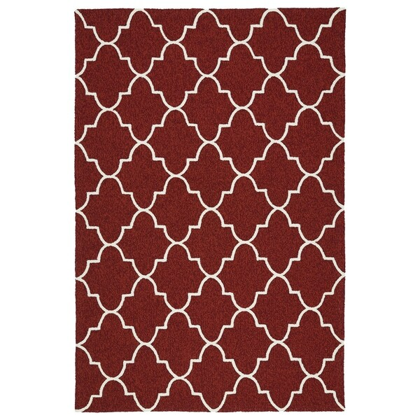 Indoor/ Outdoor Handmade Getaway Red Tiles Rug - 2' x 3'