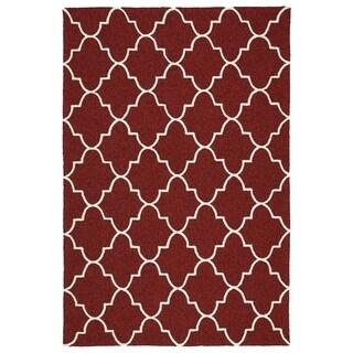 Indoor/ Outdoor Handmade Getaway Red Tiles Rug (2'0 x 3'0)