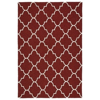 Indoor/ Outdoor Handmade Getaway Red Tiles Rug (4'0 x 6'0)