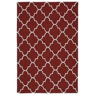 Indoor/ Outdoor Handmade Getaway Red Tiles Rug (5'0 x 7'6)