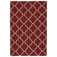 """Indoor/ Outdoor Handmade Getaway Red Tiles Rug - 5' x 7'6"""""""