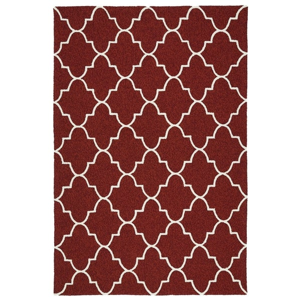 Indoor/ Outdoor Handmade Getaway Red Tiles Rug - 8' x 10'