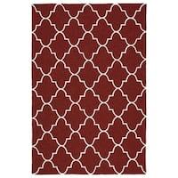 Indoor/ Outdoor Handmade Getaway Red Tiles Rug - 8' x 10'