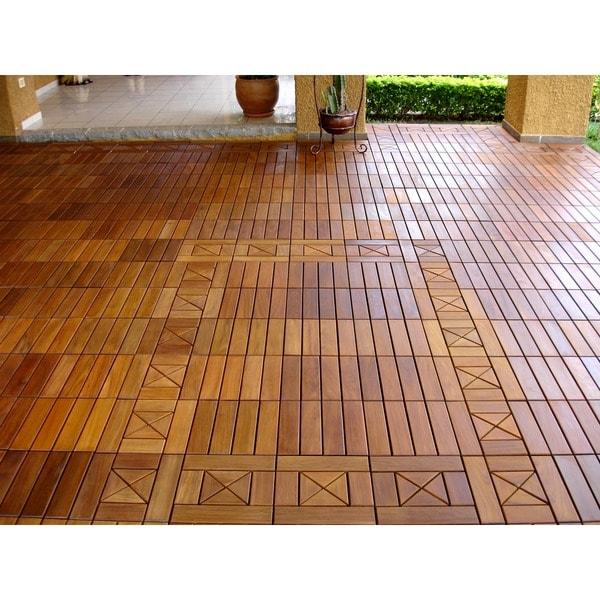 EcoDeck 10 Sq Ft Ipe Wood Flooring And Decking Tiles Pack