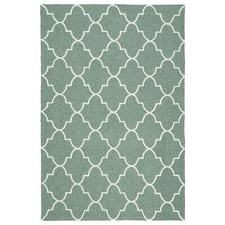 Indoor/ Outdoor Handmade Getaway Mint Tiles Rug (2'0 x 3'0)