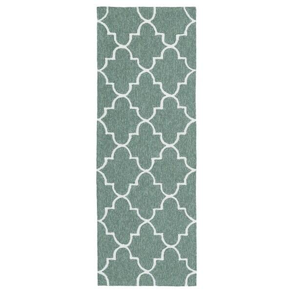 Indoor/ Outdoor Handmade Getaway Mint Tiles Rug - 2' x 6'