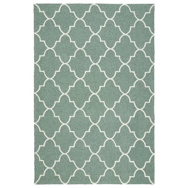 Indoor/ Outdoor Handmade Getaway Mint Tiles Rug - 8' x 10'