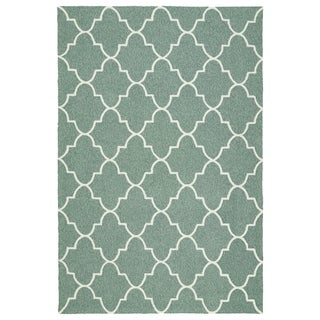 Indoor/ Outdoor Handmade Getaway Mint Tiles Rug (8'0 x 10'0)