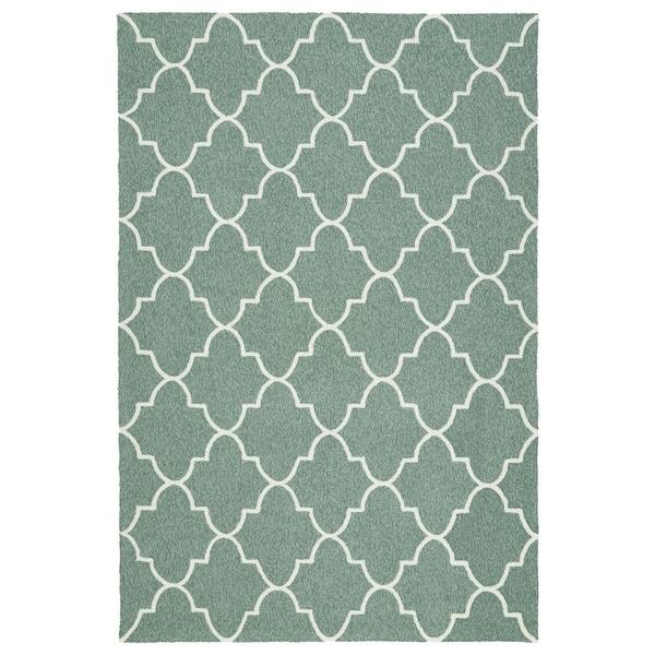 Indoor/ Outdoor Handmade Getaway Mint Tiles Rug - 9' x 12'