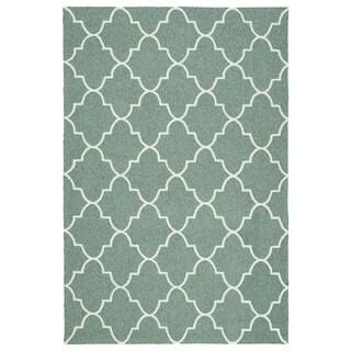 Indoor/ Outdoor Handmade Getaway Mint Tiles Rug (4' x 6')