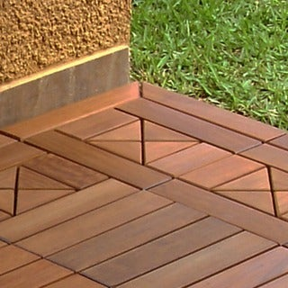 Accessory for Eco Deck Wood Outdoor Interlocking Decking Tiles: Ipe Corner Trim Edger Click & Install Tiles (Pack of 10)