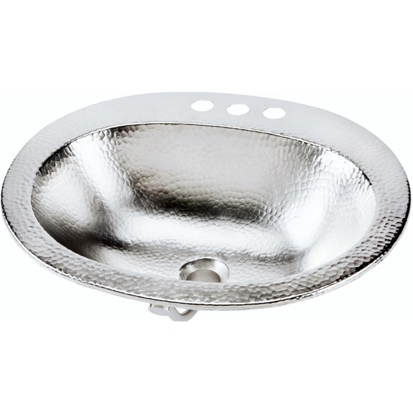 hammered nickel bathroom sink sinkology dalton handcrafted drop in 20 inch hammered 18647
