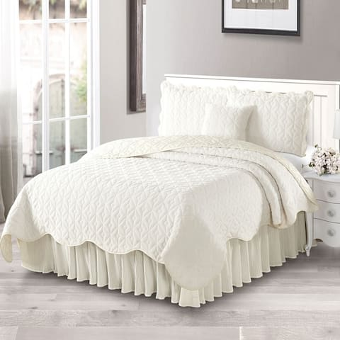 Serenta Diamond Flannel Quilted 4-piece Coverlet Set