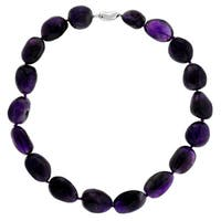 Sterling Silver Amethyst Nugget Bead Necklace