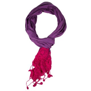 Violet Dyed Crochet Scarf (India)