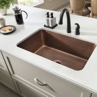 Sinkology O'Keefe Undermount Handmade Pure Solid Copper 30-inch Single Bowl Kitchen Sink