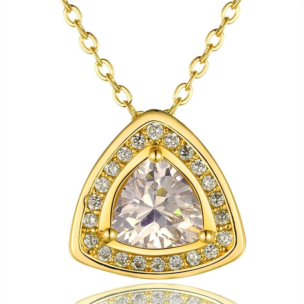 Vienna Jewelry Gold Plated Pyramid Drop Necklace