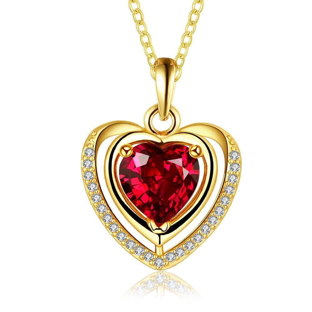Vienna Jewelry Gold Plated Ruby Heart Shaped Necklace