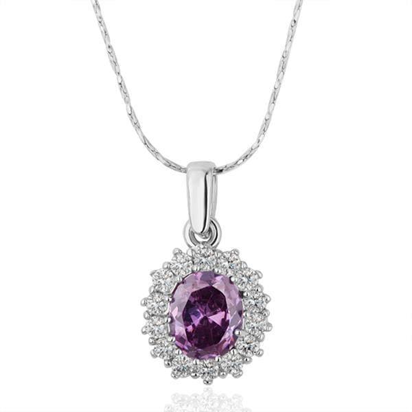 Vienna Jewelry White Gold Plated Purple Citrine Gem Necklace