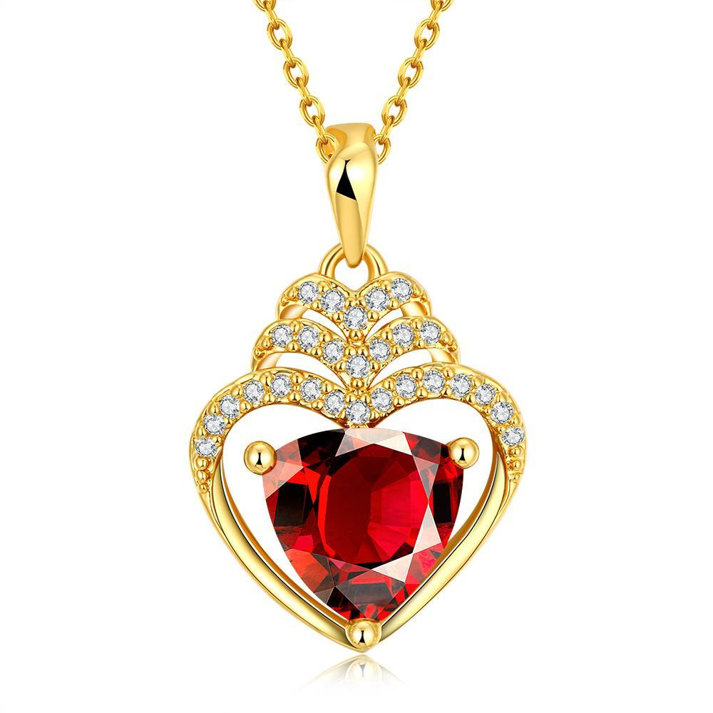 Vienna Jewelry Gold Plated Hollow Heart with Ruby Gem Necklace