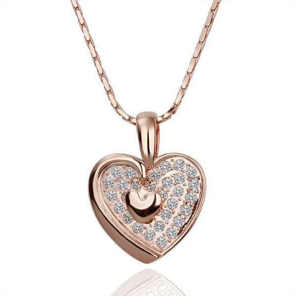 Vienna Jewelry Rose Gold Plated Curved Heart Shaped Crystal Jewel Covering Necklace