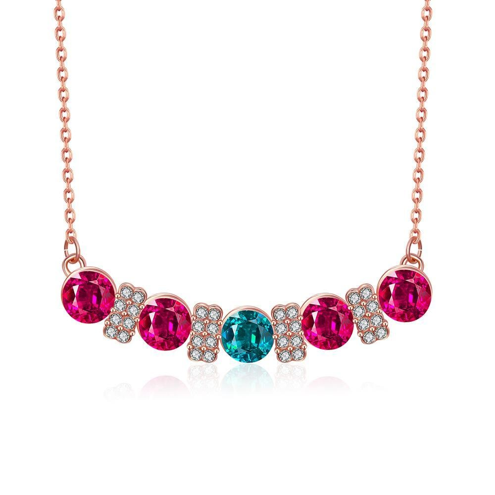 Vienna Jewelry 18K Rose Gold Plated Multi-Gem Bar Necklace